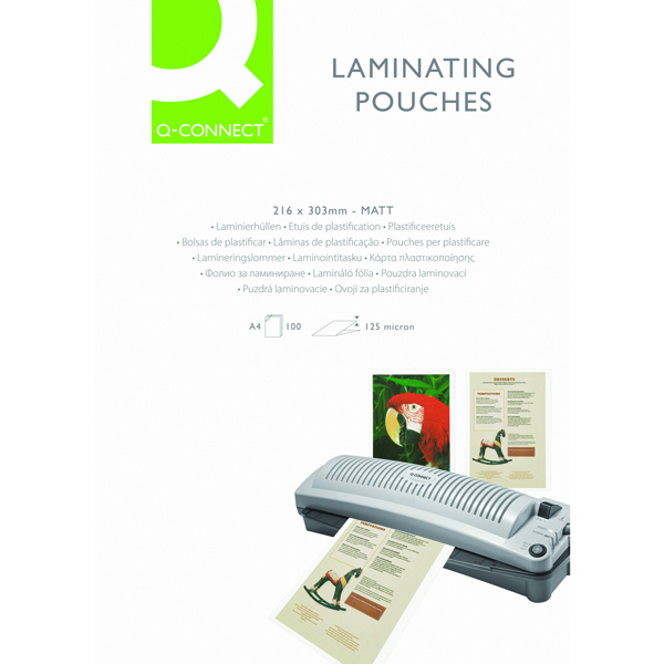 Q-Connect Matt A4 Laminating Pouch 250 Micron (Pack of 100)