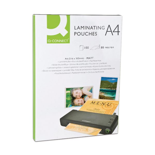 Q-Connect Matt A4 Laminating Pouch 160 Micron (Pack of 100) KF24057