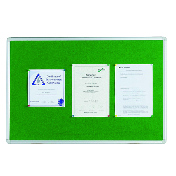 Q-Connect 1200x900mm Aluminium Frame Green Notice Board 54034204