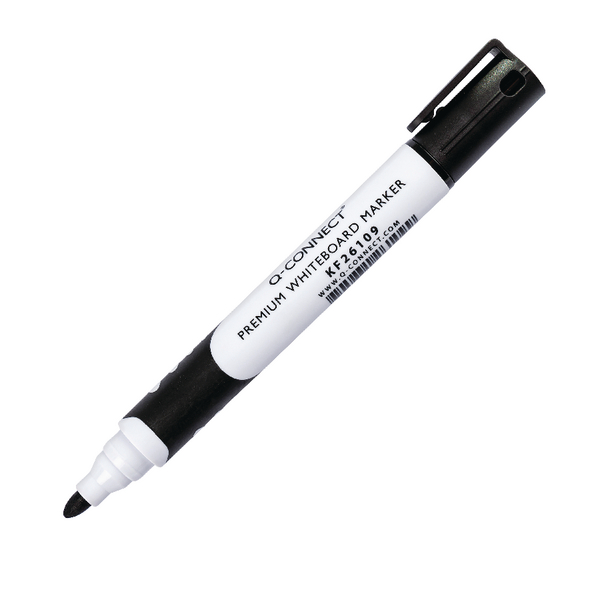 Q-Connect Black Premium Drywipe Whiteboard Marker Pens Bullet Tip (Pack of 10) KF26109