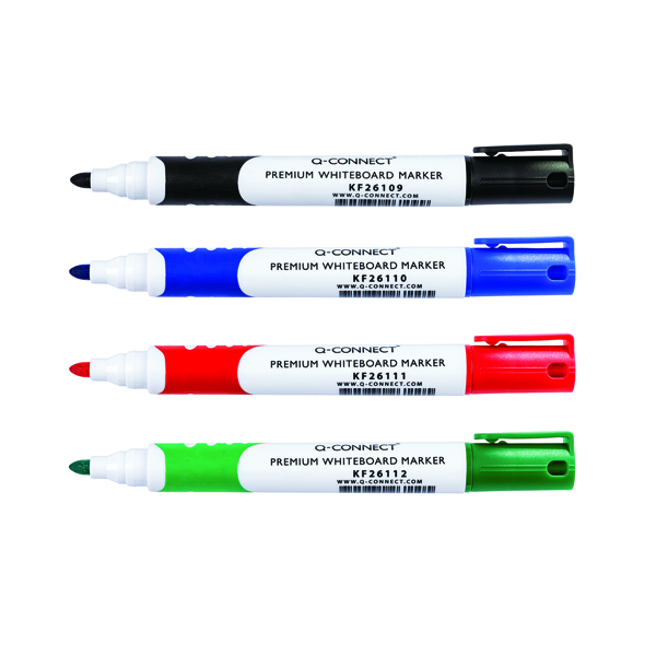 Q-Connect Assorted Premium Drywipe Whiteboard Markers Bullet Tip (Pack of 4) KF26113