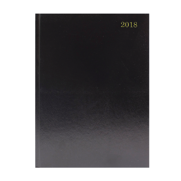 A4 2 Pages Per Day 2018 Black Desk Diary