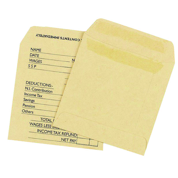 Image for Q-Connect Wage Envelope 108x102mm Printed 90gsm Manilla Self Seal (Pack of 1000)