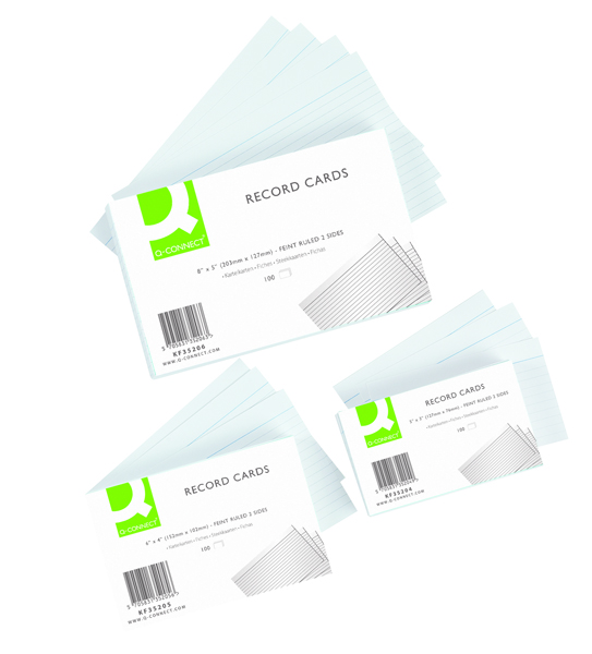 Image for Q-Connect Record Card 8x5 Inches Ruled Feint White (Pack of 100) KF35206