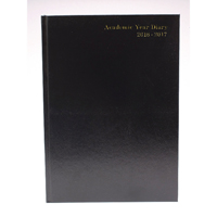Academic Diary Week to View 2016/17 A4 Black (Pack of 1)