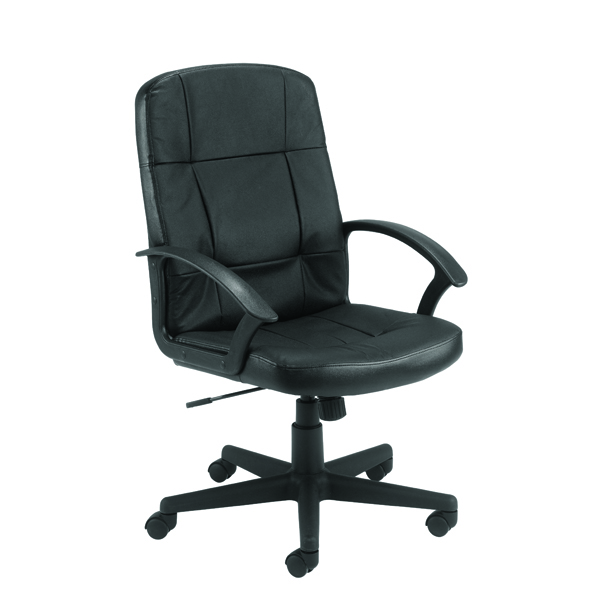 Jemini Thames Leather Look Executive Chair With Arms Black