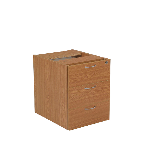 Jemini 3 Drawer Fixed Pedestal Oak