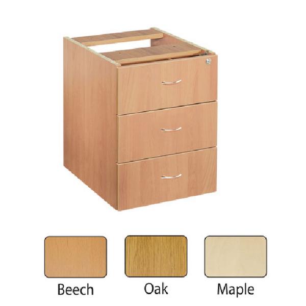 Jemini 3 Drawer Fixed Pedestal Maple