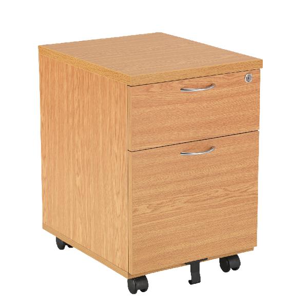 Jemini 2 Drawer Oak Mobile Pedestal