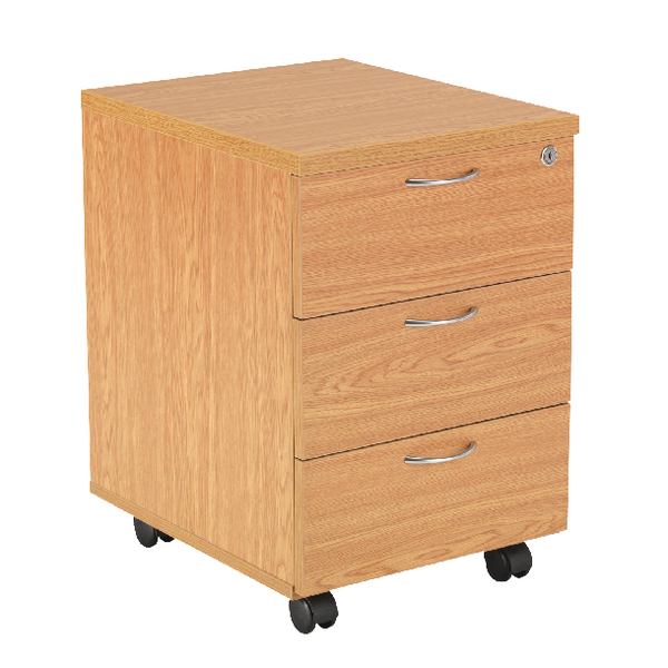 Jemini 3 Drawer Mobile Pedestal Oak