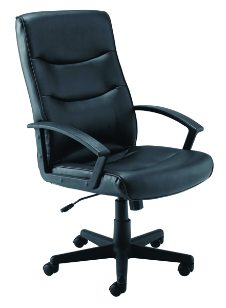 Jemini Hudson Black Leather Look Executive Chair With Arms KF72232