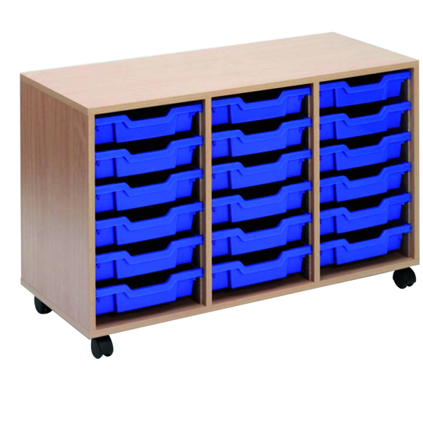 Image for Jemini Mobile Storage Unit 18 Blue Trays Beech