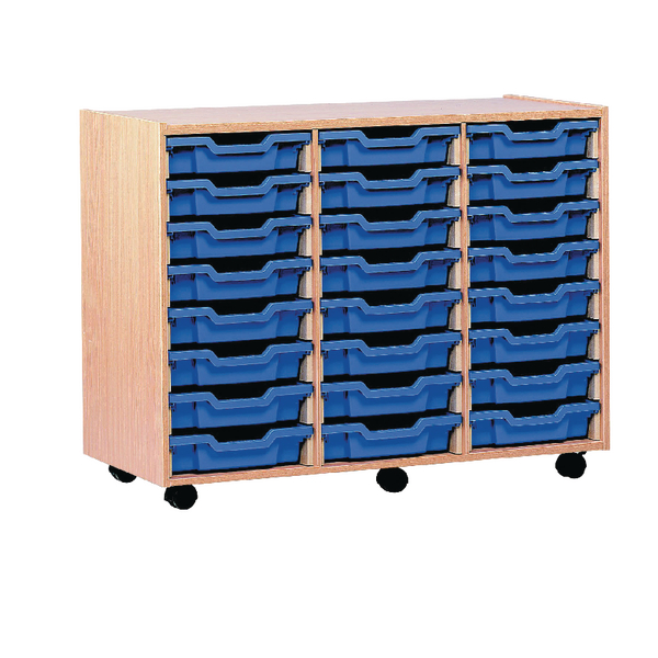 Jemini Mobile Storage Unit 24 Tray Beech (Pack of 1) KF72568