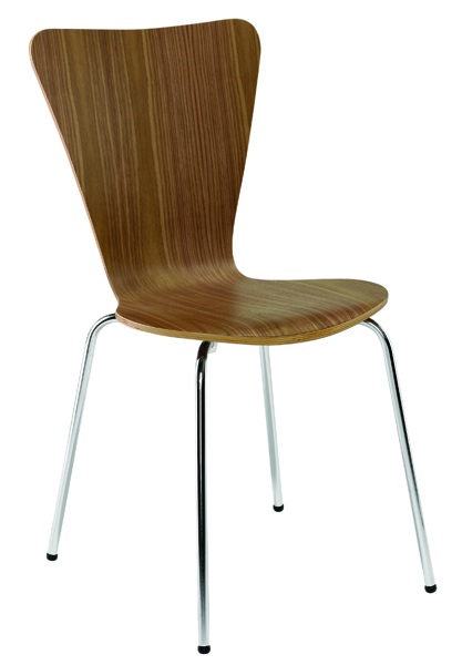 Arista Wooden Bistro Chair Walnut and Chrome (Pack of 4)