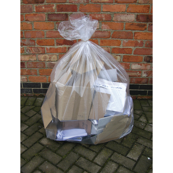 2Work Clear Wheelie Bin Liner (Pack of 100) KF73374