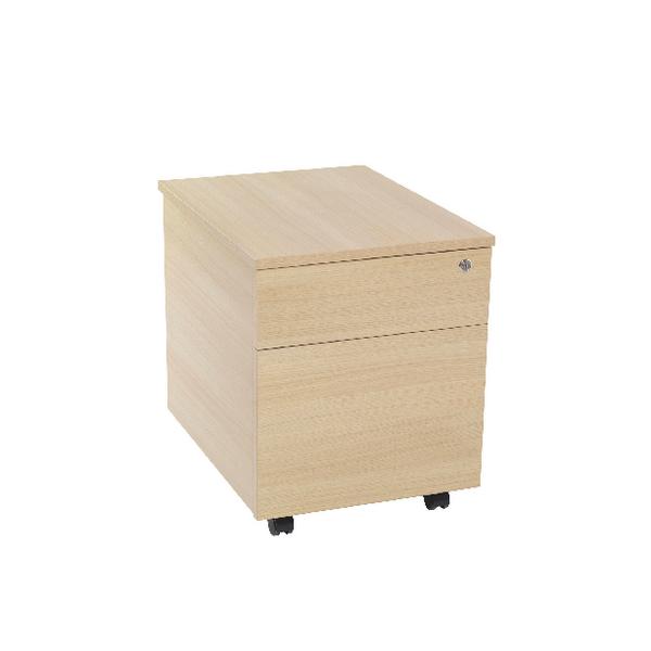 Jemini 2 Drawer Warm Maple Mobile Pedestal