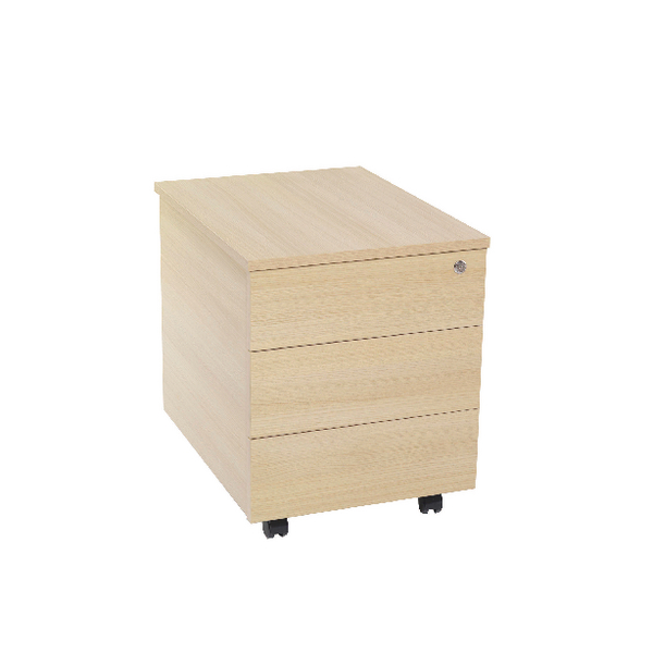 Jemini 3 Drawer Mobile Pedestal Warm Maple