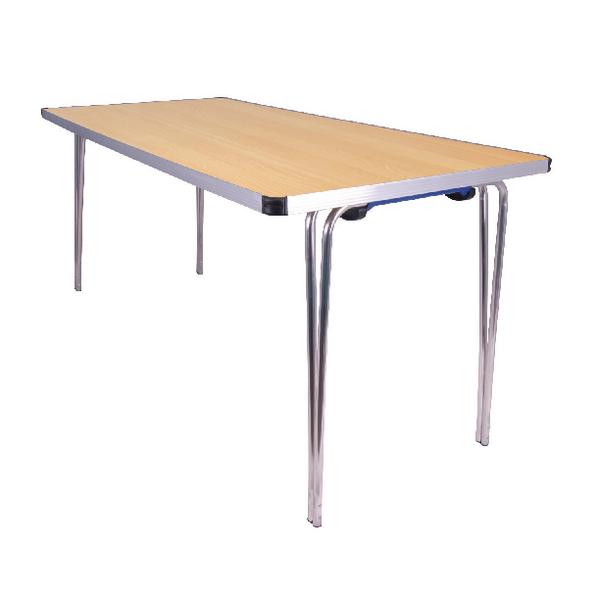 Jemini Beech Rectangular W1520xD685xH698mm Aluminium Folding Table KF74028