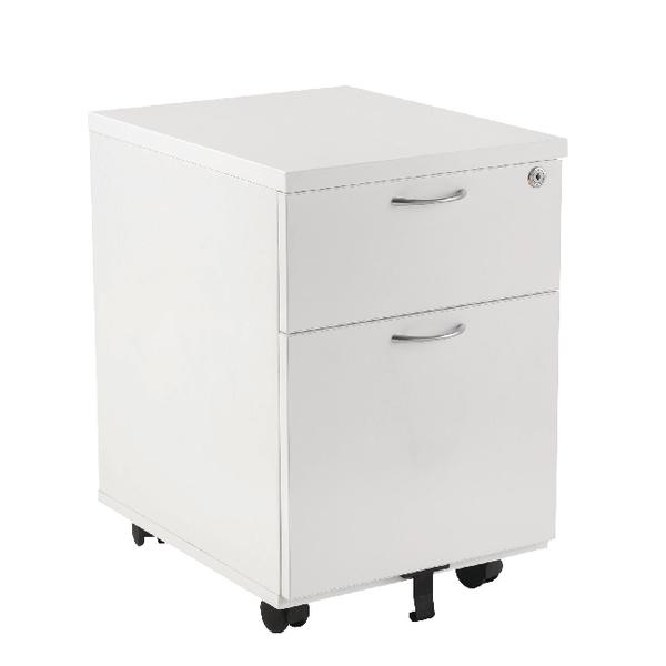 Jemini 2 Drawer White Mobile Pedestal