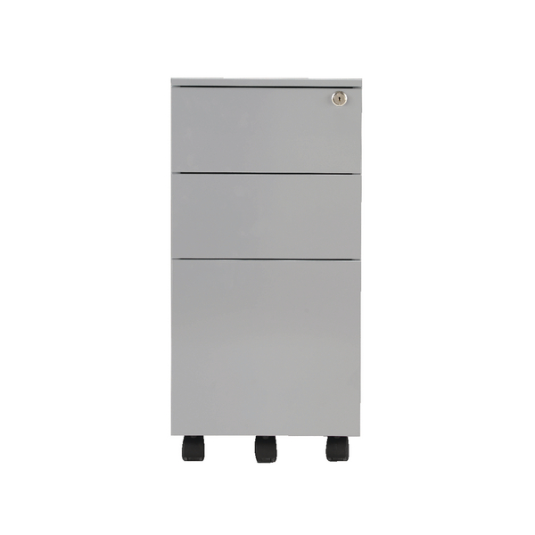 Jemini Mobile Slimline Silver Steel 3 Drawer Pedestal