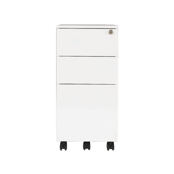 Jemini Mobile Steel 3 Drawer Pedestal Slimline White