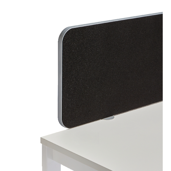 Jemini Silver Trim Black 1600mm Straight Rounded Corner Screen