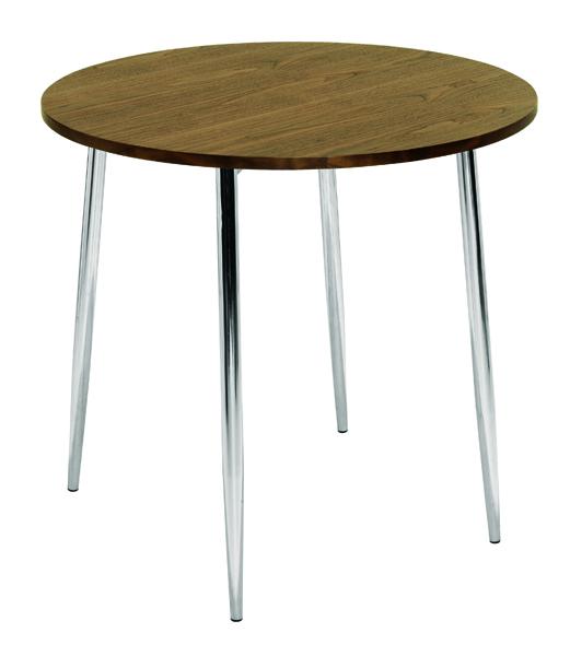 Arista Walnut and Chrome Round Bistro Table