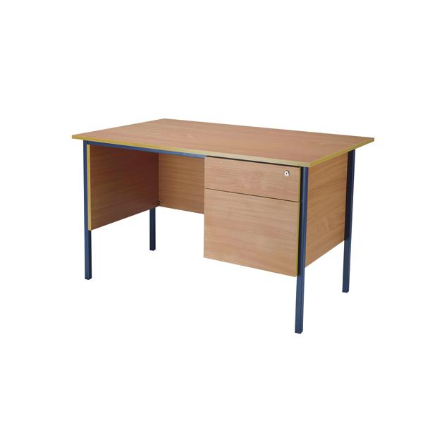 Jemini Bavarian Beech 1200mm Four Leg Desk With Two Drawer Pedestal