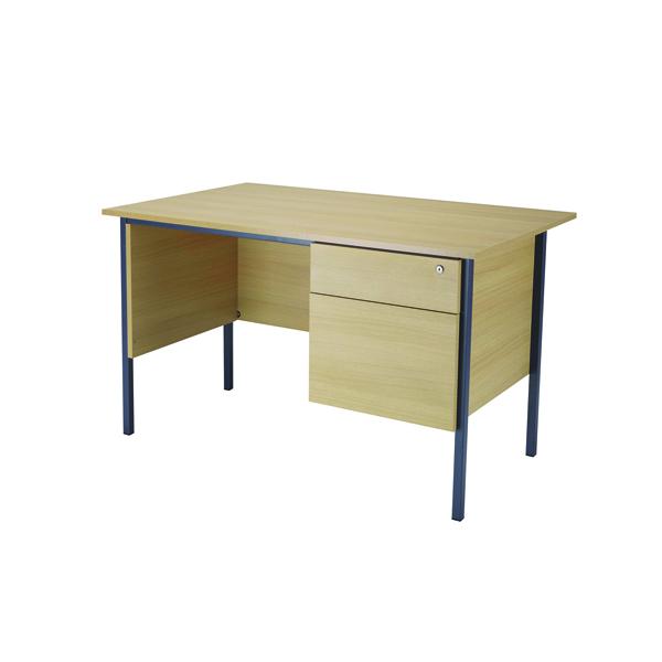 Jemini Ferrera Oak 1200mm Four Leg Desk With Two Drawer Pedestal