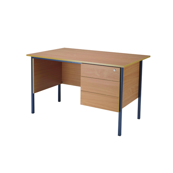 Jemini Bavarian Beech 1200mm Four Leg Desk With Three Drawer Pedestal