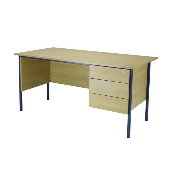 Jemini Ferrera Oak 1500mm Four Leg Desk With Three Drawer Pedestal