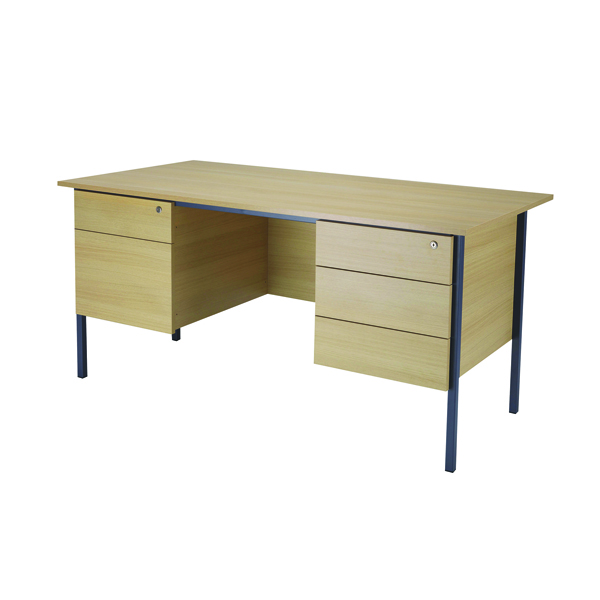 Jemini Ferrera Oak 1500mm Four Leg Desk With Double Pedestal