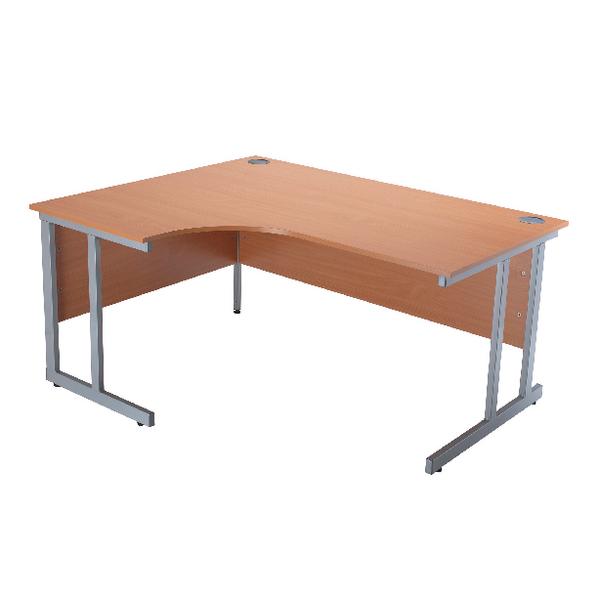 Jemini Intro Bavarian Beech 1500mm Radial Left Hand Cantilever Desk KF838523