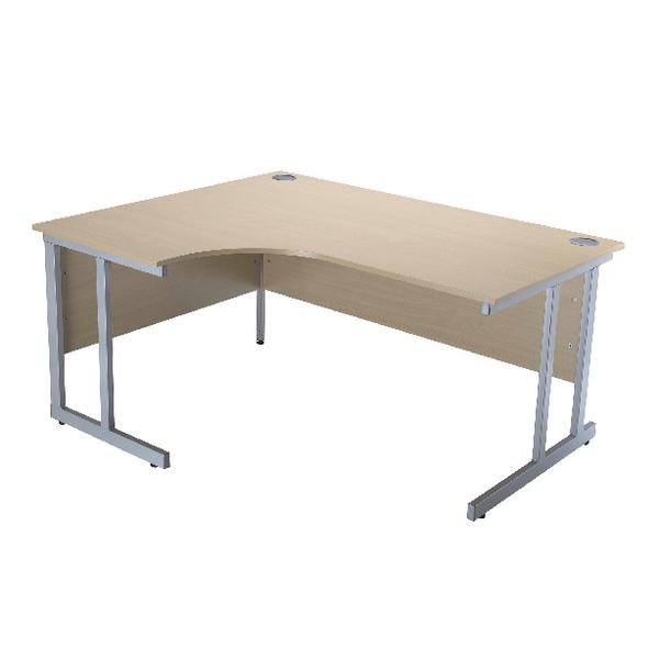 Jemini Intro Warm Maple 1500mm Radial Left Hand Cantilever Desk KF838525