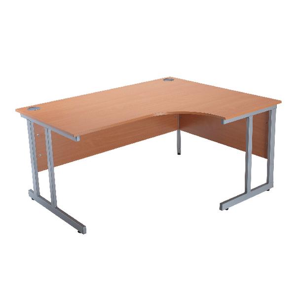 Jemini Intro Bavarian Beech 1500mm Radial Right Hand Cantilever Desk