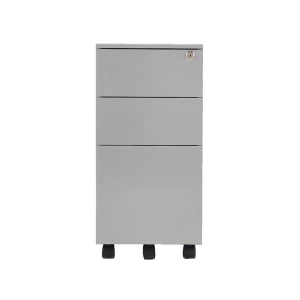 First Steel Slimline Under Desk Pedestal 3 Drawer Silver