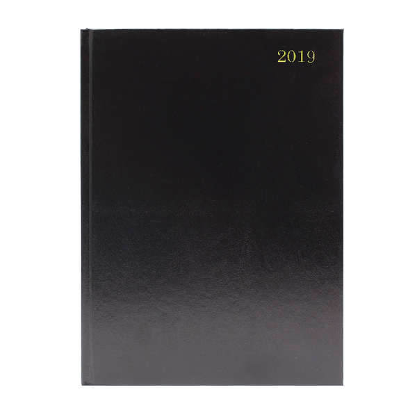 A4 2 Days Per Page 2019 Black Desk Diary