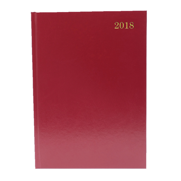A4 Week to View 2018 Burgundy Desk Diary