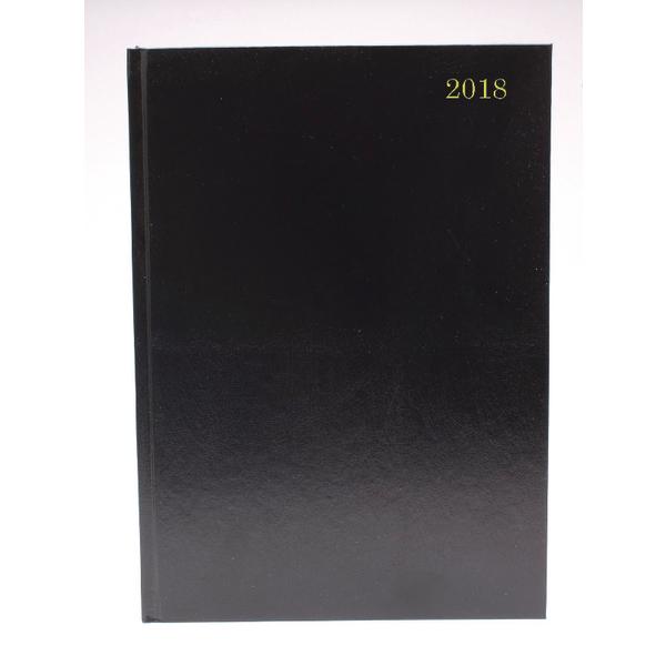 A5 2 Days Per Page 2018 Black Desk Diary
