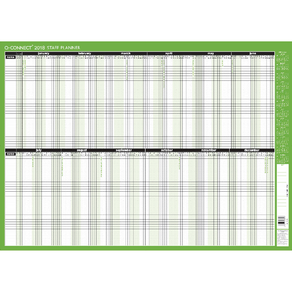 Q-Connect Staff Planner Unmounted 855x610mm 2018