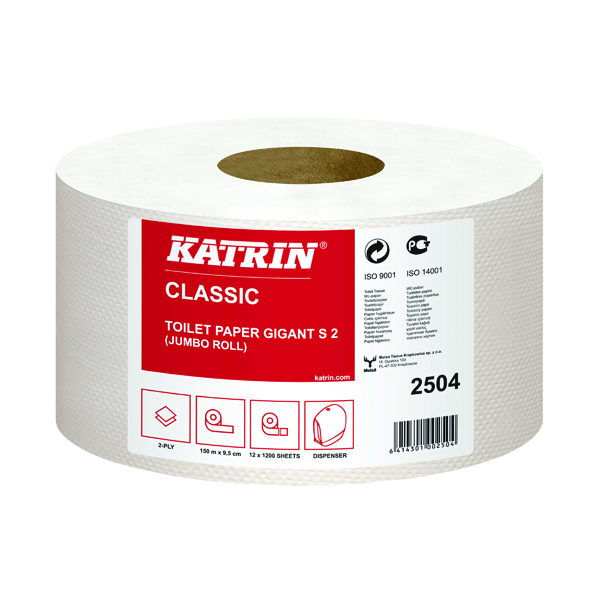 Katrin Mini Jumbo 2Ply Toilet Roll (Pack of 12) 2504