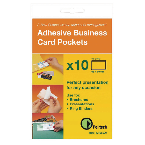 Pelltech Business Card Pockets Top Opening 95x60mm (Pack of 100) PLH10141