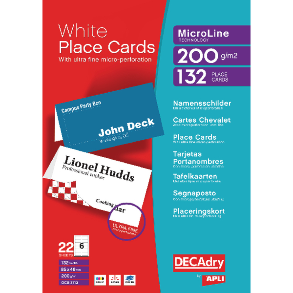 Decadry Perforated Place Card 85x46mm White Pack of 132 DPOCB3713