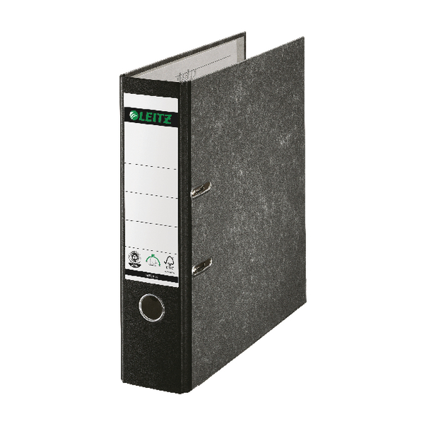 Leitz Black Spined Foolscap Lever Arch File (Pack of 10) 10821095