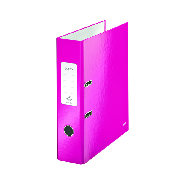 Leitz 180 Wow 80mm Metallic Pink A4 Lever Arch File (Pack of 10) 10050023