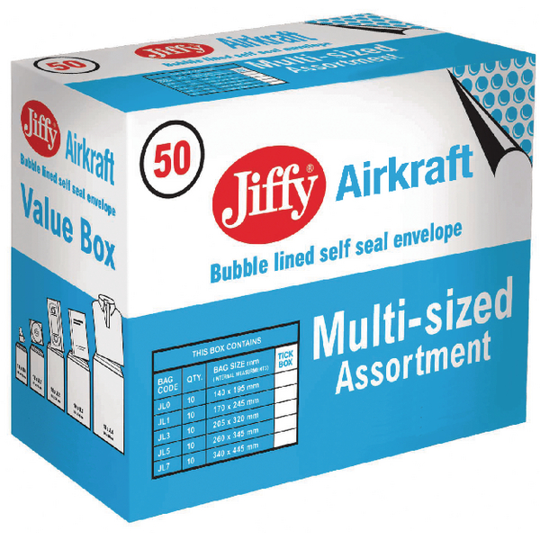 Jiffy Airkraft Assorted Sizes Gold Bag (50 Pack) JL-SEL-A