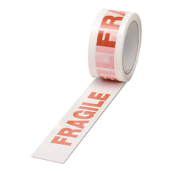 White/Red Polypropylene Fragile Printed Tape 50mm x 66m (6 Pack) PPP-C