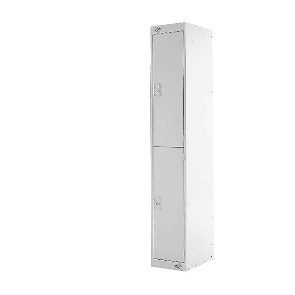 Two Compartment Locker Light Grey Door 300mm Deep