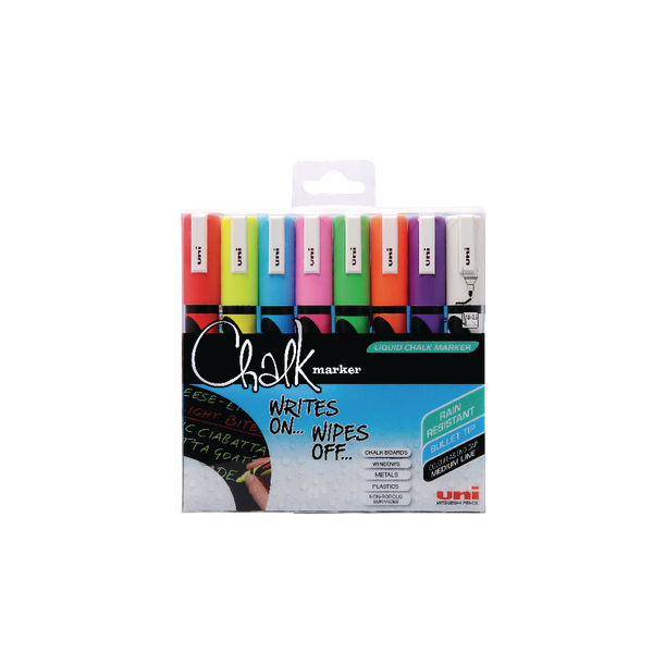 Uni Medium Assorted Chalk Markers (Pack of 8) 153494341