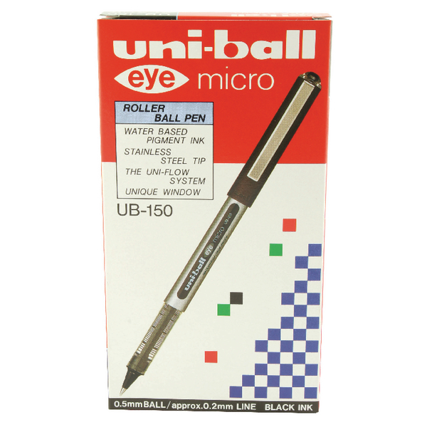 Uni-Ball Eye Micro Rollerball Pen UB-150 0.2mm Line Black (Pack of 12) 9000500